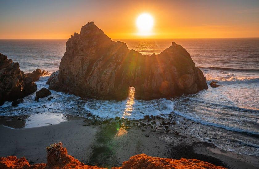 pfeiffer beach tramonto